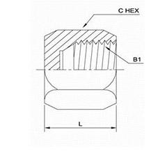 美制JIC螺纹37°接头螺母0304-C系列结构图