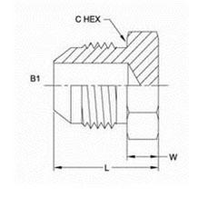 美制JIC螺纹37°油塞接头2408系列结构图