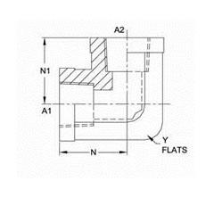 美制NPTF锥螺纹直角接头5504系列结构图