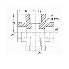 美制NPTF锥螺纹四通接头5652系列结构图