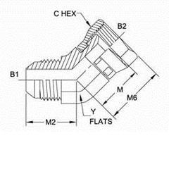 美制JIC螺纹37°弯管接头6502系列结构图