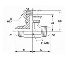 美制JIC螺纹37°三通接头6600系列结构图