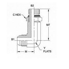 美制JIC螺纹37°加长直角接头6801LL系列结构图