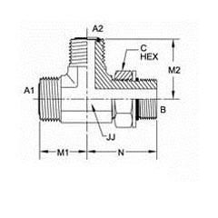 美制ORFS螺纹O型圈平面密封三通管接头FS6804系列结构图