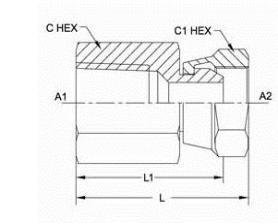 美制NPSM锥螺纹接头1405系列结构图