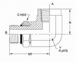 美制螺纹O型圈密封直角管接头6805系列结构图
