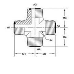 美制ORFS螺纹O型圈平面密封四通管接头FS2650系列结构图